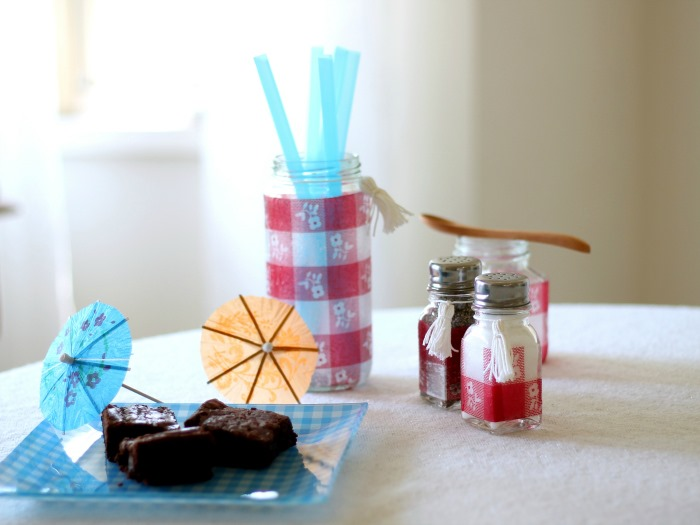 Picnic Glass using Mod Podge and Napkins