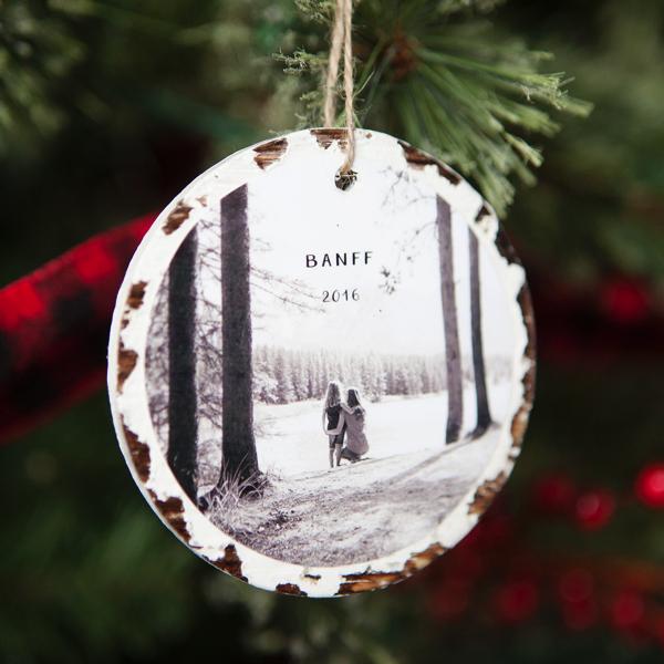 photo wood slice ornament