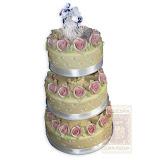 17. kép: Esküvői torták - Esküvői három szintes rózsás figurás torta