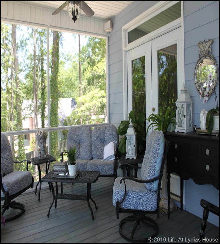 porch furniture with old fabric