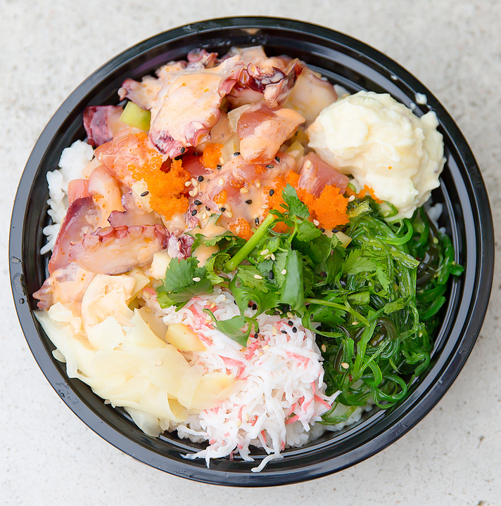 overhead photo of a Kraken poke bowl