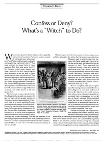 Cover of Elizabeth Reis's Book Confess Or Deny What A Witch To Do
