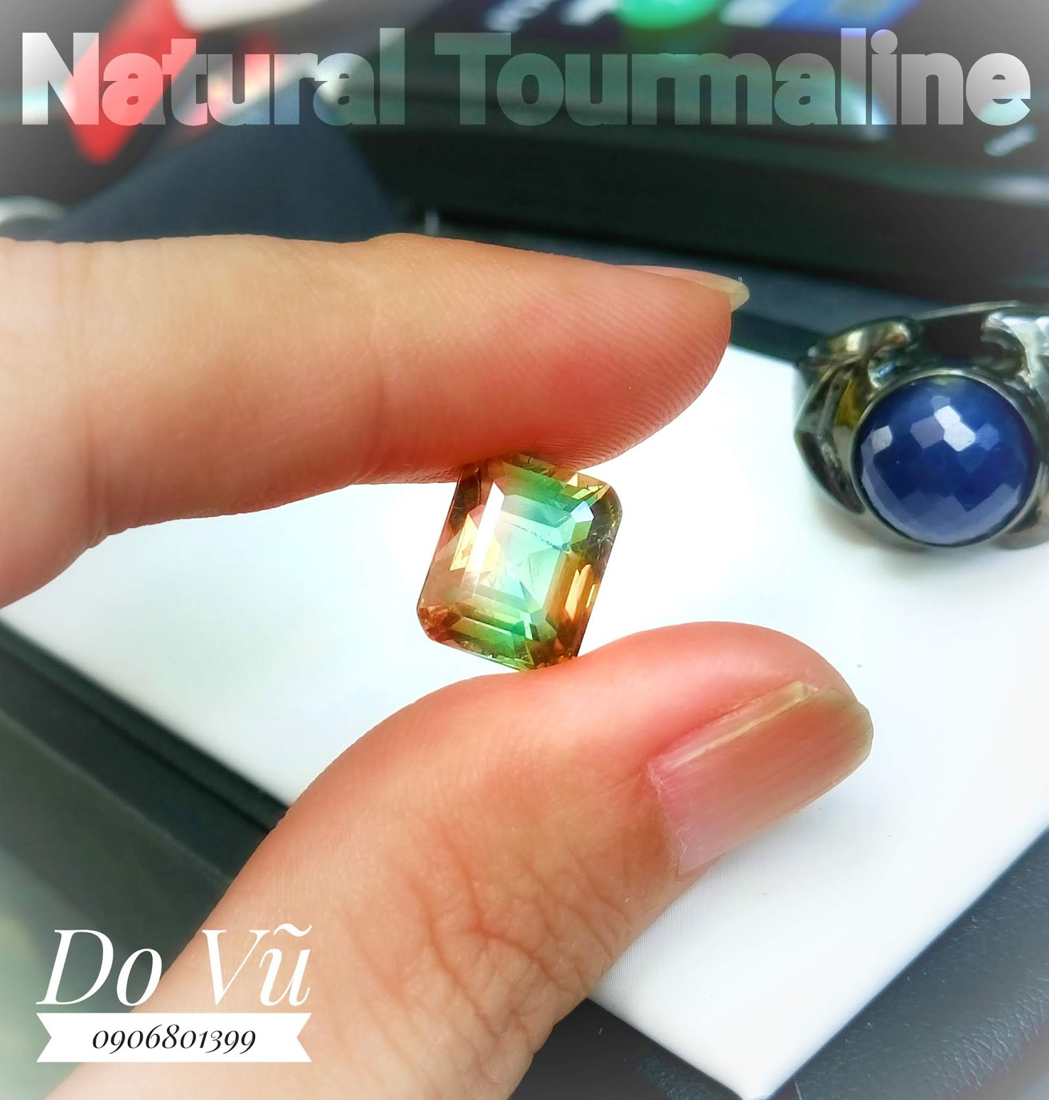 Natural Tourmaline tri-colour ba mầu