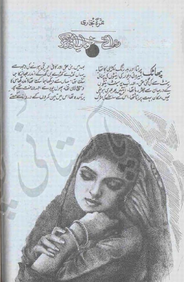 Rida e Khwab Orh kr is a very well written complex script novel by Samra Bukhari which depicts normal emotions and behaviour of human like love hate greed power and fear , Samra Bukhari is a very famous and popular specialy among female readers