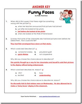 super teacher comprehension funn face ans