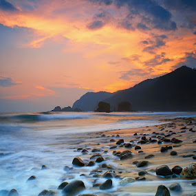 The Stones And The Burning Sky by Teguh Iwan S - Landscapes Waterscapes