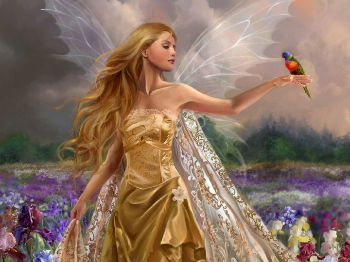 Gold Fairy And Bird, Fairies Girls