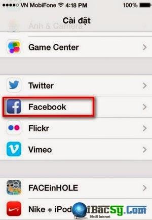 Hình 2 - xóa danh bạ facebook trên iPhone 6, plus