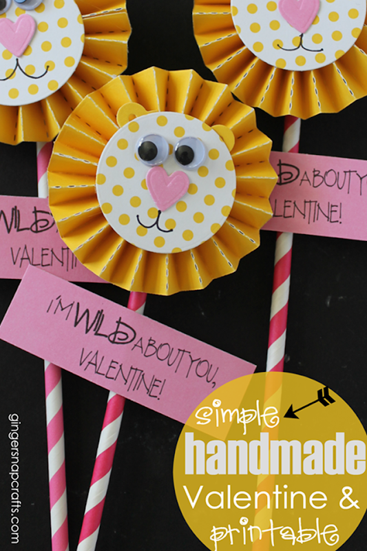 Simple Handmade Valentine & Printable - I'm Wild About YOU, Valentine at GingerSnapCrafts.com #valentine_thumb