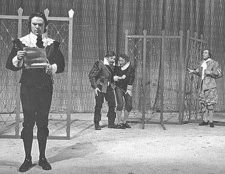 Fabian and Sir Toby Belch conspire against Malvolio in Shakespeare's Twelfth Night, Meadowbrook Theater, 1969