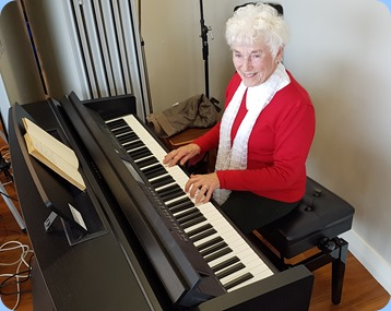 Audrey Hendon playing Northbridge Village's Yamaha Clavinova CVP-609.