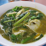 This is similar to Karen kao buh: vegetables cooked in a thin rice porridge