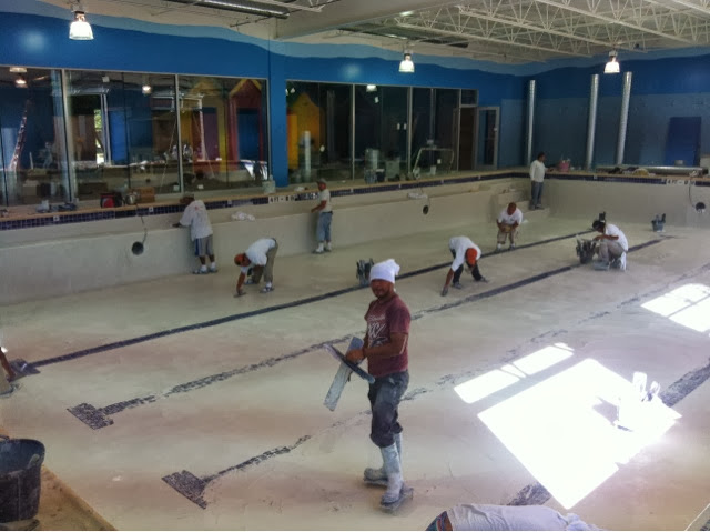 Pengu Swim School is getting the plaster for the pool installed!