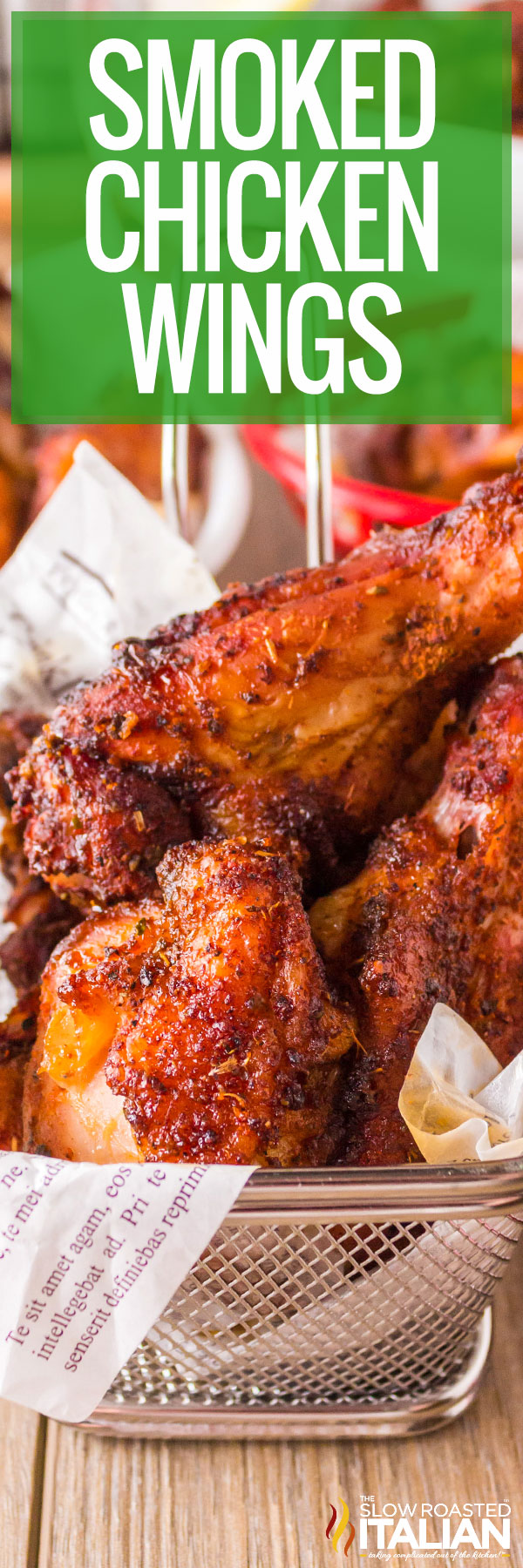 Smoked Chicken Wings in a basket