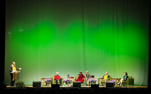 Morning session from day three of the Dalai Lama Environmental Summit hosted by Maitripa College, Veterans Memorial Coliseum, Portland, Oregon, U.S., May 11, 2013. Photo by Leah Nash.