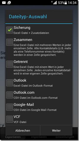 Android Kontakte in Excel exportieren
