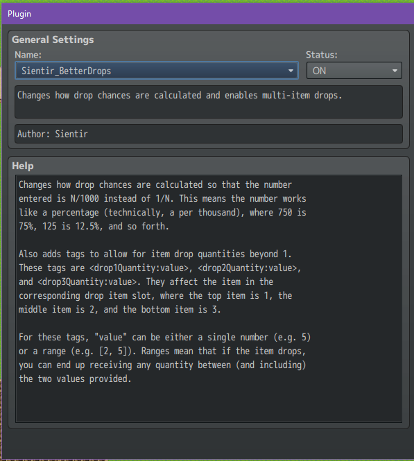 A picture of the plugin in RPG Maker MV's plugin manager.