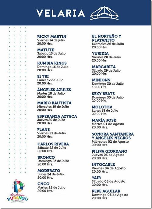 Artistas presentandose en Velaria FENADU Feria Nacional Durango 2017 boletos baratos en primera fila VIP nop agotados hasta adelante