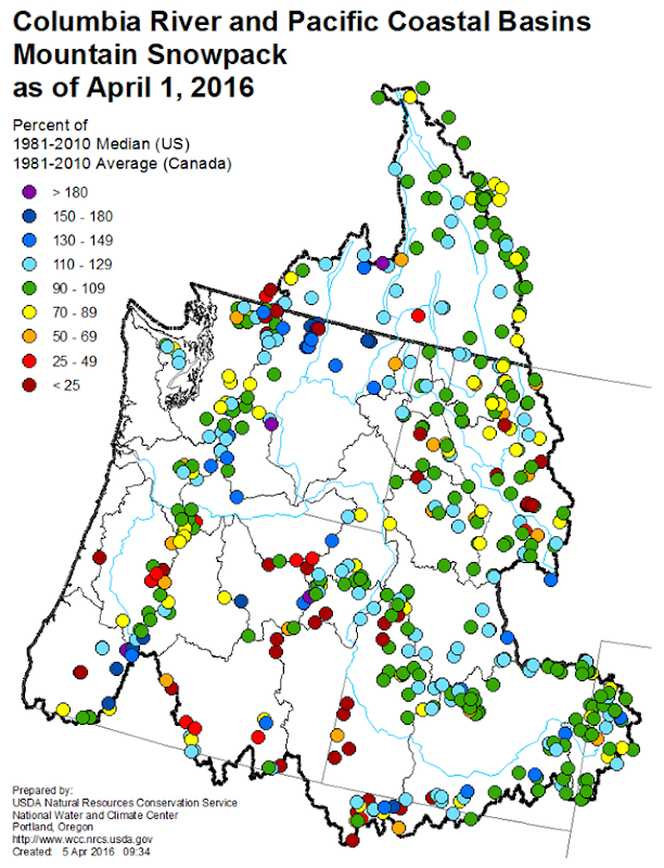 Mountain snowpack map for the columbia river basin 1 april 2016