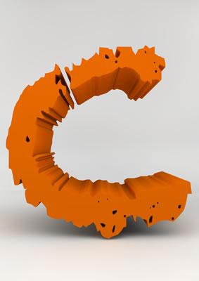 lettre 3D chiffron de craie orange - C - images libres de droit