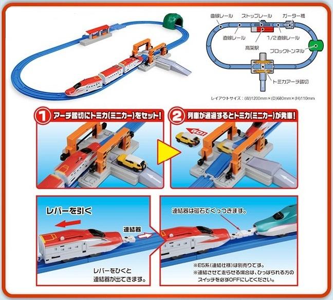tàu hỏa Shinkansen Super Komachi giao cắt với đường bộ Tomica Arch Rail Crossing