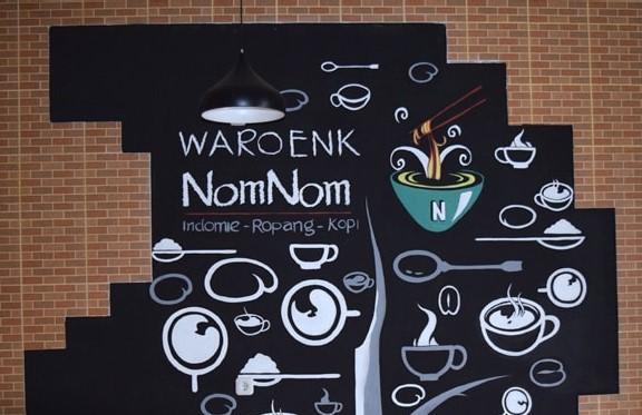 Motif Lukisan Mural Dinding Cafe Sederhana