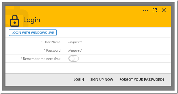 "The login form now displays a button to ""LOGIN WITH WINDOWS LIVE""."