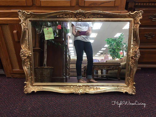 gold fancy framed mirror