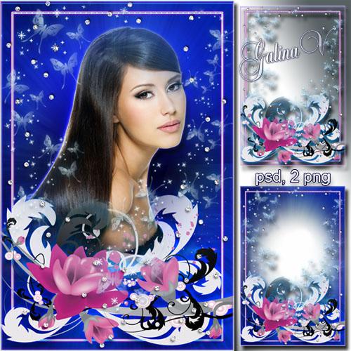 Цветочная рамка для фото - Бриллиантовая россыпь