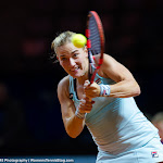 STUTTGART, GERMANY - APRIL 18 : Timea Babos in action at the 2016 Porsche Tennis Grand Prix