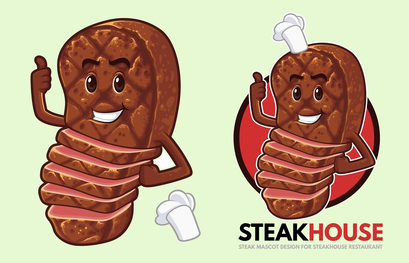 Steak Mascot Design Steakhouse Free Download Vector CDR, AI, EPS and PNG Formats