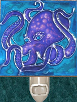 purple octopus on blue