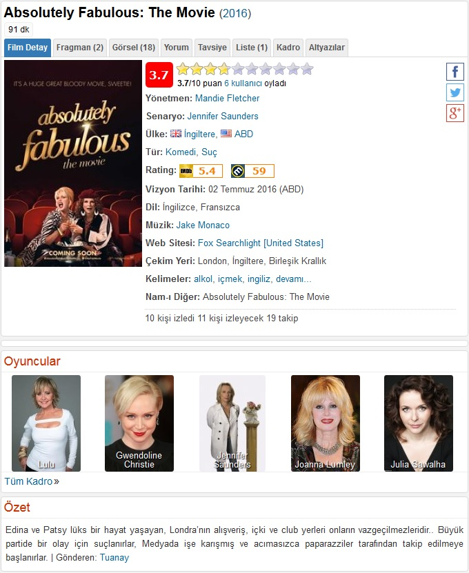 Absolutely Fabulous The Movie 2016 - 1080p 720p 480p - Türkçe Dublaj Tek Link indir