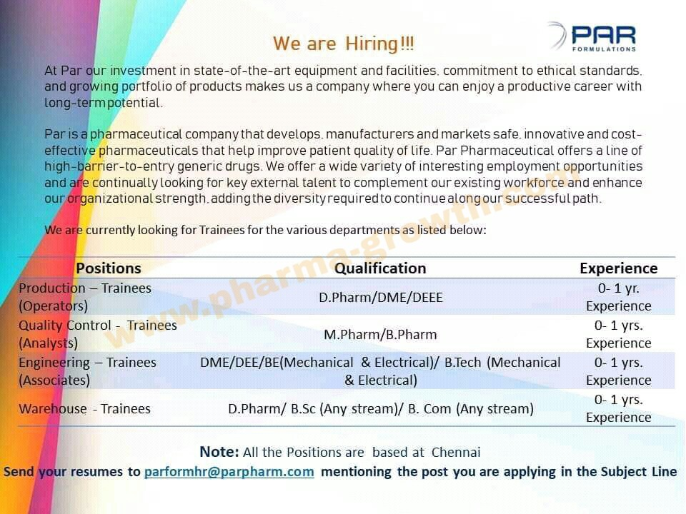 Par Pharmaceuticals Ltd - Urgently Opening for Fresher Candidates | Apply CV Now