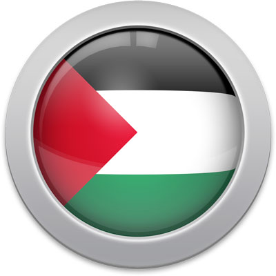 Palestinian flag icon with a silver frame