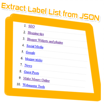extract label list from blogger JSON feeds