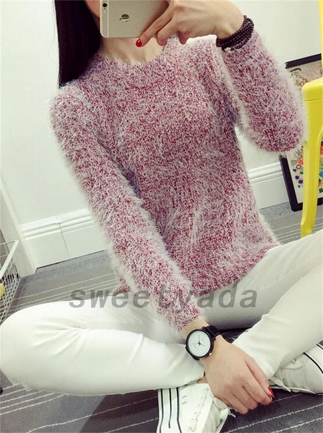 Hand Knit Mohair Blend Fuzzy Women's Pullover Cozy Sweater Soft ...