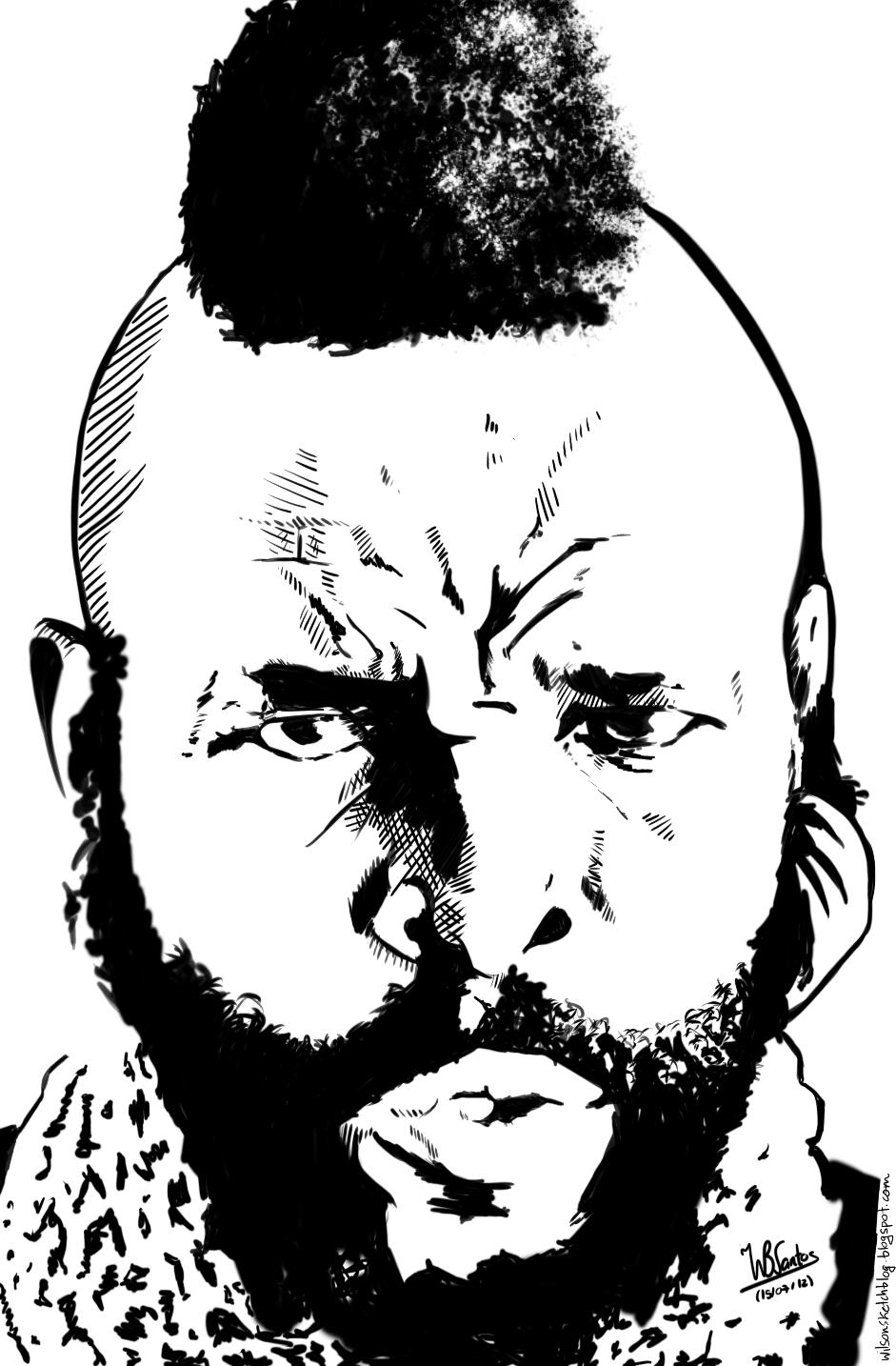 ink drawing of mr t using krita 24