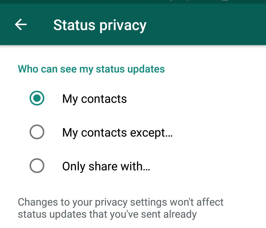 Pilihan privasi status Whatsapp