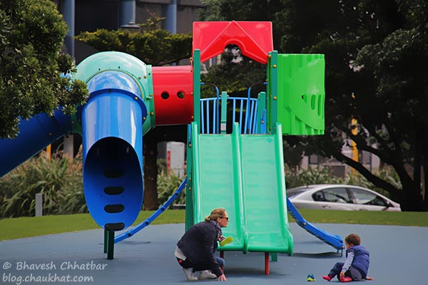 Play area for the kids, at the Frank Kitts Park of Wellington [New Zealand]