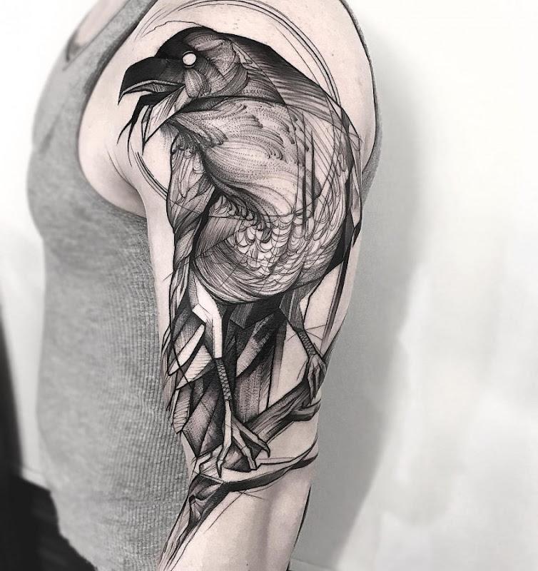 este_esboço_estilo_corvo_tatuagem