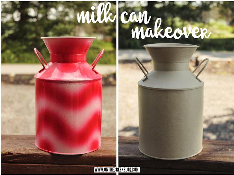 Milk can makeover using Annie Sloan Chalk Paint® in Country Grey