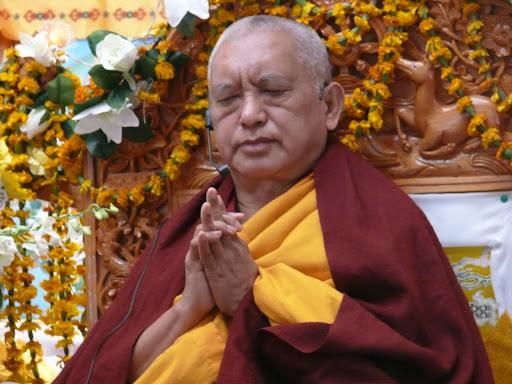 Lama Zopa Rinpoche during long life puja at Tushita Retreat Center, December, 2011.