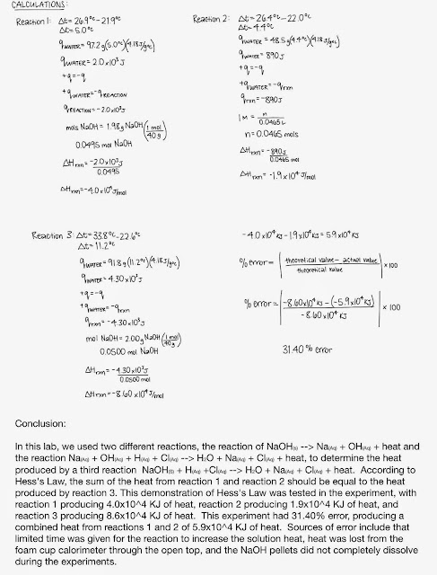 hess s law lab report _____university of puget sound department of chemistry  difficult to measure in the laboratory e  according to hess's law,.
