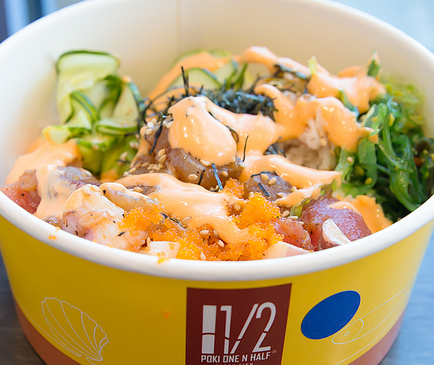 photo of a poke bowl with spicy mayo