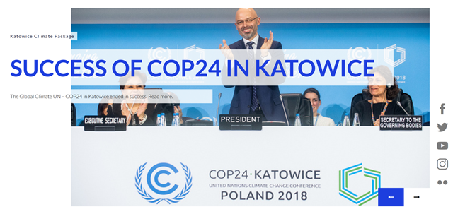Screenshot of the web site for the COP24 climate conference in Katowice, Poland, taken on 19 December 2018. Photo: United Nations