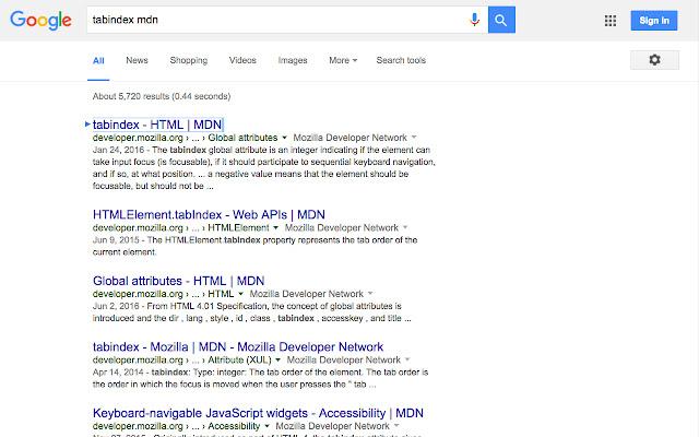 Tab Focus through Google Search Results