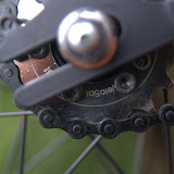 Using a VeloSolo 18T cog, mounted directly onto where the disc would normally go.