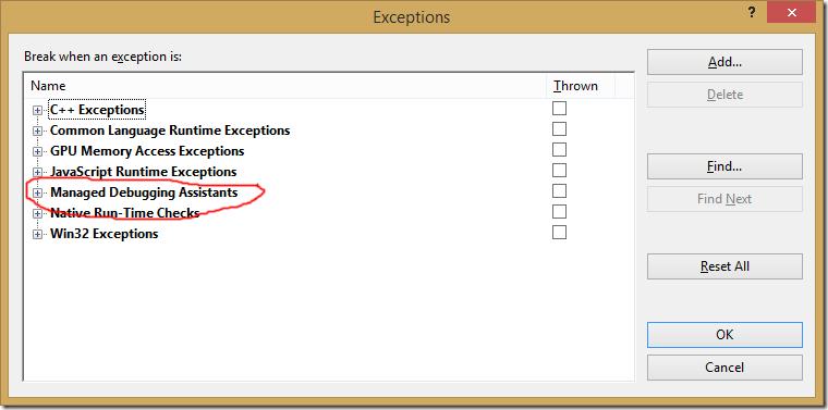 Visual Studio 2013 Exceptions Dialog