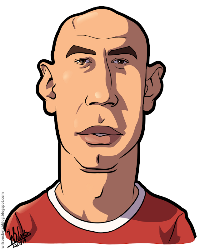 Cartoon caricature of Luisão.